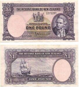 NEW ZEALAND 1 Pound (1940-55) Pick 159a, Very Fine+  *RARE*
