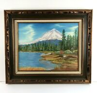 VTG 1976 Lake Trillium Mount Hood Oregon Oil Painting Canvas Framed 27x24