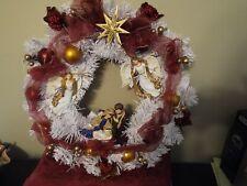 "Lighted 19""  Wreath Christmas Manger Angels White"