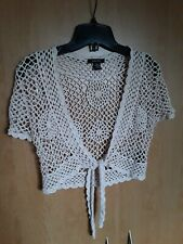 Womens Top Shrug  Sweater  Beige Ivory Crochet Cropped Bolero Blouse Small Vest