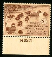 US Duck Stamps # RW8 VF Plate # single OG LH