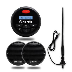 "Marine Bluetooth Receiver Radio+3""Boat yacht black Hot tub Speakers+FM/AM Aerial"