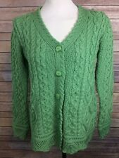 ARAN CRAFTS Cardigan Women's XS Light Green Irish Cable Knit 100% Merino Wool