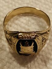 10kt Yellow Gold Insignia Mens Ring, Size 10, Free Ship In USA, Nice
