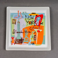 "Crate & Barrel NEW YORK City Scenes Square Appetizer Plate Tray 5 3/4"" x 5 3/4"""