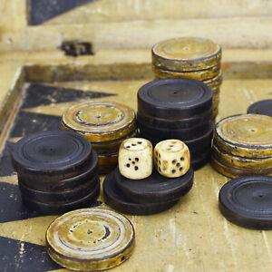 Antique Early 19th Century Black Forest Backgammon Folding Game Box Wood & Bone