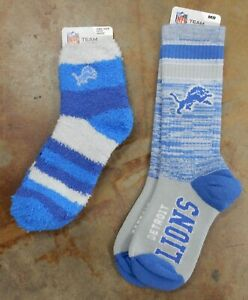 2 Pack NFL Detroit Lions Socks Rainbow Sleep Blue Gray Gift Set Medium OSFM