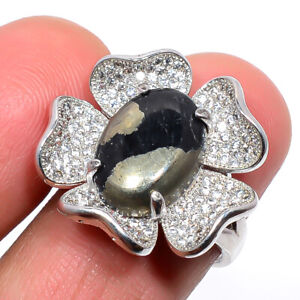 Magnetite In Pyrite & Cz Gemstone 925 Sterling Silver Jewelry Ring s.Ad M1529