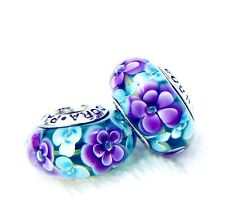 2 PANDORA Silver 925 ALE Charm Love You Rose Teal Purple Flower Beads #191AM
