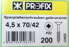 Spanplattenschrauben 4,5 x 70/42 verzinkt 200 Stk Holzschrauben Kreuzschlitz