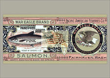 REPRINT PICTURE of old can label WAR EAGLE BRAND SALMON pacific am fisheries 7x5
