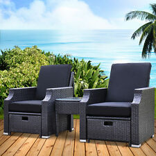Wicker  Rattan Sun Lounge Set Beach Chair Outdoor Setting