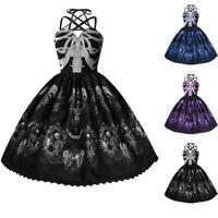 Womens 50s Vintage Skull Print Halloween Dress Party Evening Swing Skater Dress
