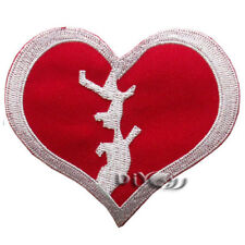 Red Broken Love Heart Iron On Sew on Badge Applique Patch Coat Sewing Craft