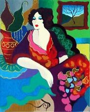 "Patricia Govezensky- ""Katy"" Hand Signed Numbered Serigraph Modern Figurative Art"