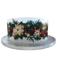 A4 Edible Decor Icing Sheet Christmas Wreath Garland Ribbon Border