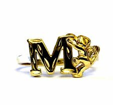 10k yellow gold initial M ring band angel womens vintage estate 2.5g antique