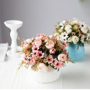 1Pc Artificial Tea Rose Silk Flower Bouquet Daisy Fake Flower Wedding Home Decor