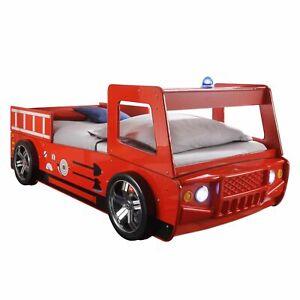 Autobett Feuerwehrbett SPARK rot Kinderzimmer Kinderbett Bett LED Juniorbett