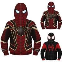 Kids Boys Superhero Spiderman Zipper Hoodie Jacket Party Costume Loose Coat Top
