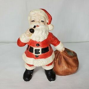 Vintage Santa Figurine Pipe Toy Bag Holland Mold Christmas