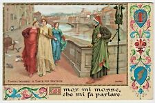c1913 Chromolitho Art Postcard — Incontro Di Dante Con Beatrice by Henry Holiday