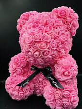"40cm Pink Rose Teddy Bear Flower Gift For Girlfriend Birthday Wedding 15"""