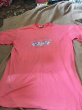 Abstract Ladies Salmon Pink Short Sleeve Top One Size Good Condition