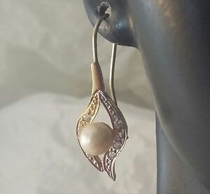 "Vintage Handmade 14 k 2-tone White / Yellow Gold Pearl Dangle Earrings 1 3/8"" L"