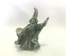Small pewter Wizard holding multicolored crystal glass ball fantasy Decor.