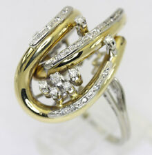 Diamond abstract ring estate 18K 2 tone gold round brilliant .30CT 11.4G sz10.25
