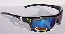 UNDER ARMOUR Keepz POLARIZED Sunglasses Satin Black/Blue Storm Sport NEW $160