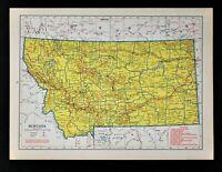 c 1940 Hammond Railroad Map Montana Helena Missoula Great Falls Butte Boseman