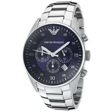 NEU Emporio Armani AR5860 Herrenuhr Armbanduhr Chronograph Edelstahl Silber Blau