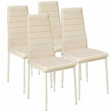 4 Modern Dining Chairs Dining Room Chair Table Faux Leather Furniture Cozy Beige