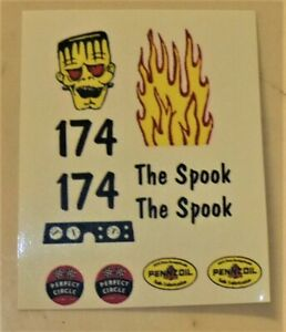 1/32 Strombecker slot car WATERSLIDE Decal Sheet #174 THE SPOOK DRAGSTER
