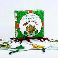 Thaumatrope optical toy, 8 Christmas tree decoration toys, New Year gift present