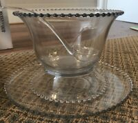 VINTAGE Imperial Glass Candlewick Punch Bowl Set w/Cups + Serving platter & Bowl