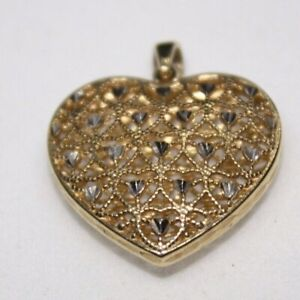 100% Genuine 375 9k Solid Yellow Gold Large Filigree Hollow Love Heart Pendant