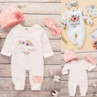 3PCS Newborn Baby Girl Floral Romper Bodysuit Jumpsuit Playsuit Clothes Outfit