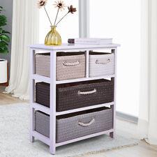 Bedroom Bedside Nightstand w/4 Basket s Drawers Wooden Cabinet Storage Rack