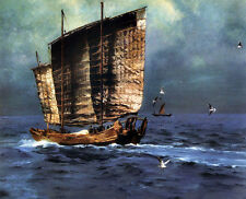 Perfect Oil painting huge sail boats on ocean with Seabirds Seagull in sunset