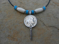 +++BUFFALO NICKEL COIN NECKLACES!!! HANGING FEATHER (A piece of History)