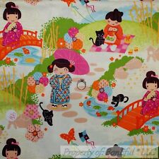 BonEful FABRIC FQ Cotton Quilt Cream Pink Asian Girl Dress Scenic Tuoile Flower