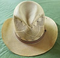 Vintage tan woven Straw sun, western, panama,boat Hat wide Brim by Fischer 6 7/8