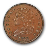1833 1/2C Classic Head Half Cent Uncirculated Mint State Type Coin R83