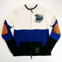 Akoo Brand 100% AUTHENTIC L/S zip Crewneck knit Sweater  Men Size L multicolor