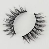 3 Pairs 3D 100% Real  Mink Makeup Cross False Eyelashes Eye Lashes Handmade USA
