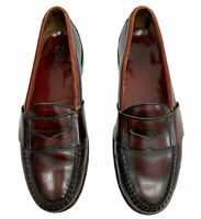 Cole Haan Size 10D Burgundy Leather Moc Toe Pinch Penny Loafer Mens Shoes