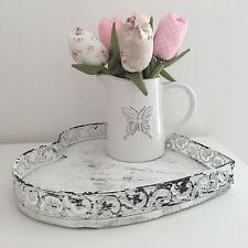 SHABBY CHIC  VINTAGE STYLE METAL WOOD TRAY HEART WHITE TEA COFFEE KITCHEN DECOR